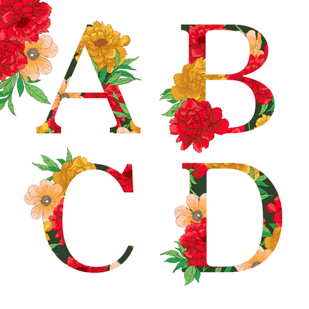 Flower colorful alphabet. Vector illustration. Check my portfolio for other letters.