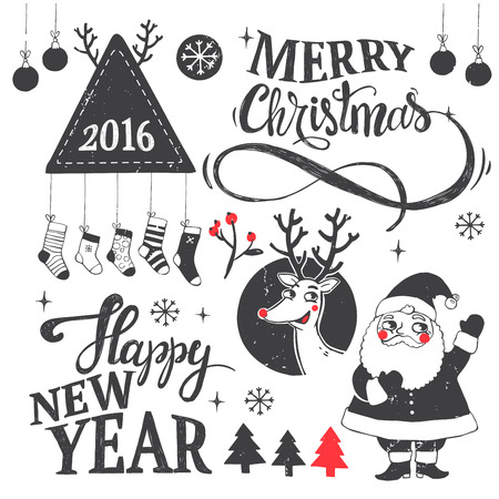 dear: Hipster New Year and Merry Christmas set with dear, santa, tree, snowflake, etc. Vector illustration.