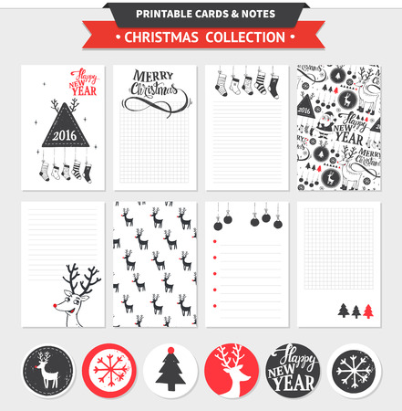merry: Hipster New Year and Merry Christmas set. Vector printable cards, notes and stickers with dear, santa, tree, snowflake, etc. Illustration
