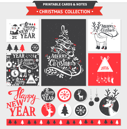 Hipster New Year and Merry Christmas set. Vector printable cards, stickers and banners with dear, santa, tree, snowflake, etc.