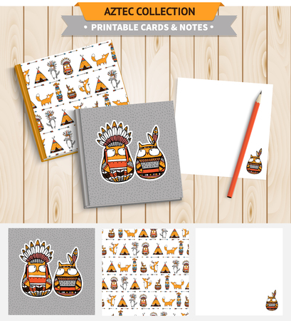 native american baby: Aztec illustration. Vector printable notepad design of cover and papers with native american funny owls and other animals. Illustration