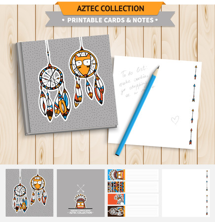 native american baby: Aztec illustration. Vector printable notepad design of cover and papers with native american funny fox and dream catcher. Illustration