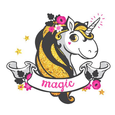 Gold glitter unicorn isolated on white background. Vector illustration.
