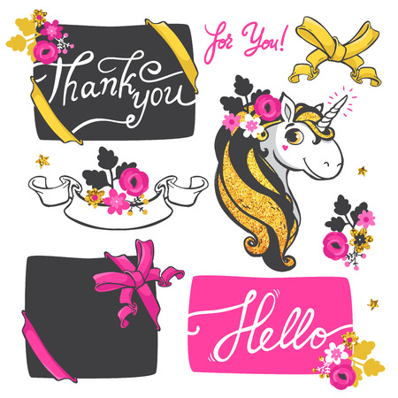 Set of elements with Gold glitter unicorn, banners with ribbon and flowers isolated on white background. Vector illustration. Vectores