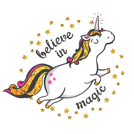 believe: Gold glitter unicorn isolated on white background. Believe in magic. Vector illustration.