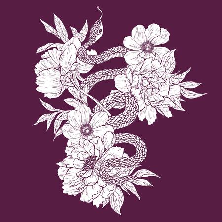 serpiente caricatura: Ilustración del vector. Sacudida de la mano dibujada con flores aisladas sobre fondo blanco.