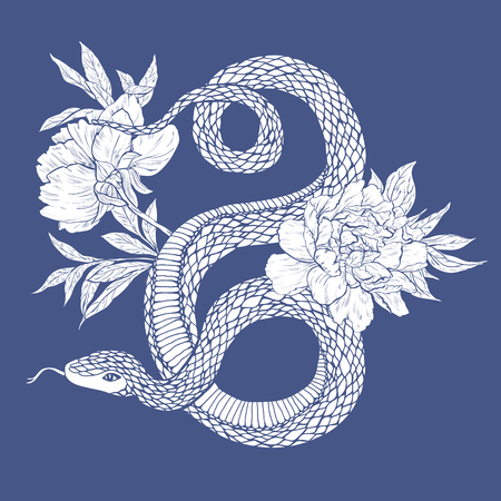 Vector illustratie. Hand getrokken schudden met bloemen op een witte achtergrond. Stock Illustratie