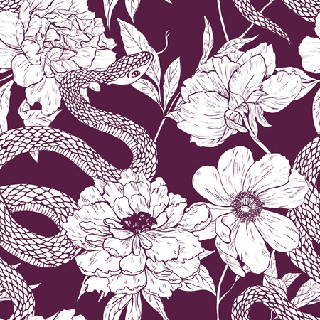 Seamless vector hand drawn pattern with shake and flowers. Illustration