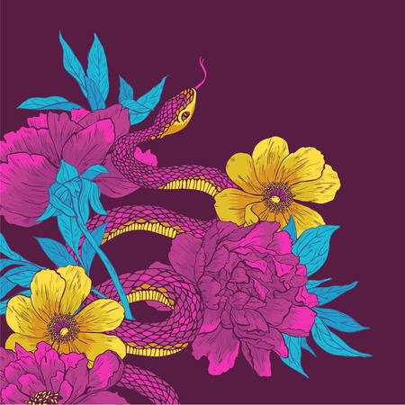 boa constrictor: Vector illustration. Hand drawn shake with flowers.
