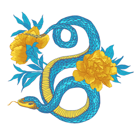 constrictor: Vector illustration. Hand drawn shake with flowers isolated on white background.