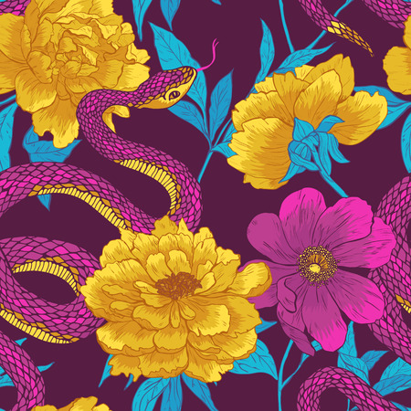 Seamless vector hand drawn pattern with shake and flowers. Çizim