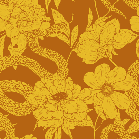 cobra snake: Seamless vector hand drawn pattern with shake and flowers. Illustration