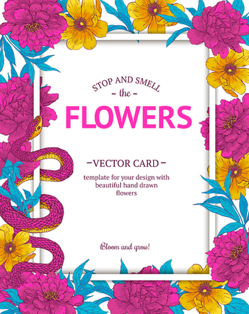 brunches: Vintage vector card with hand drawn flowers and blooming brunches. Template for your design.