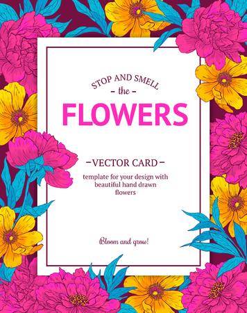 jardines con flores: Tarjeta del vector de la vendimia con flores dibujadas a mano y almuerzos en flor. Plantilla para su diseño.