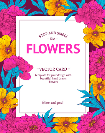 blooming: Vintage vector card with hand drawn flowers and blooming brunches. Template for your design.