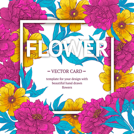 Vintage vector card with hand drawn flowers and blooming brunches. Template for your design.