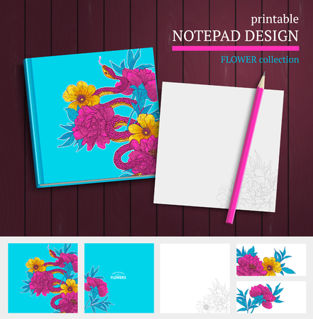 note book: Printable vector notepad design with snake, hand drawn flowers and blooming brunches.