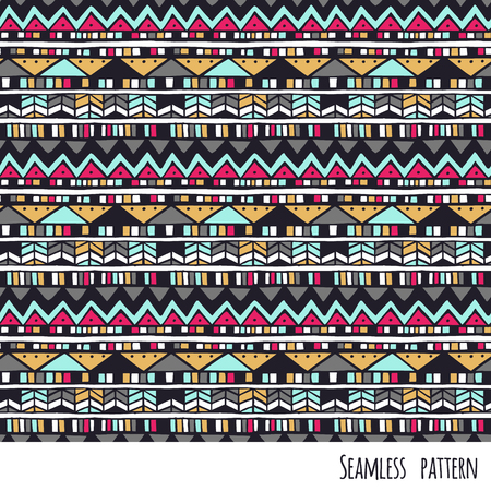 Seamless ethnic vector hand drawn pattern with geometric elements.