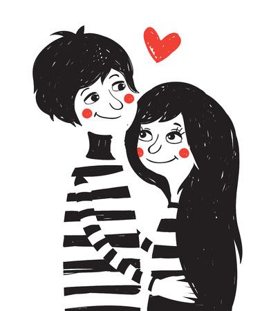 mujer enamorada: Dibujado a mano ilustración de la vendimia con la pareja encantadora. Día de San Valentín greating tarjeta. Vectores