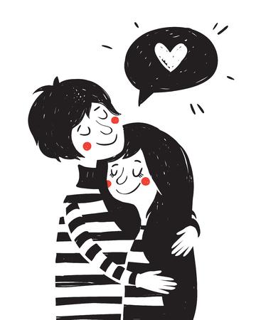 Illustrazione disegnata a mano d'epoca con bella coppia. giorno di San Valentino greating scheda. Archivio Fotografico - 49963581