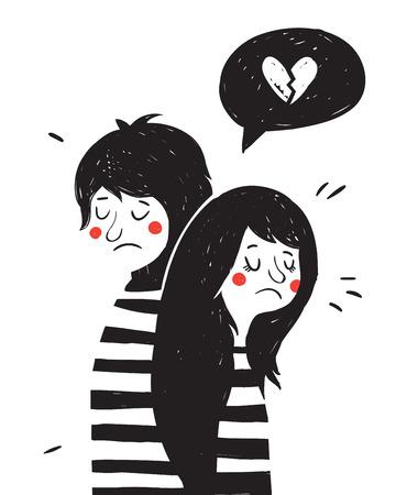 Illustrazione disegnata a mano d'epoca con bella coppia. giorno di San Valentino greating scheda. Archivio Fotografico - 49963580