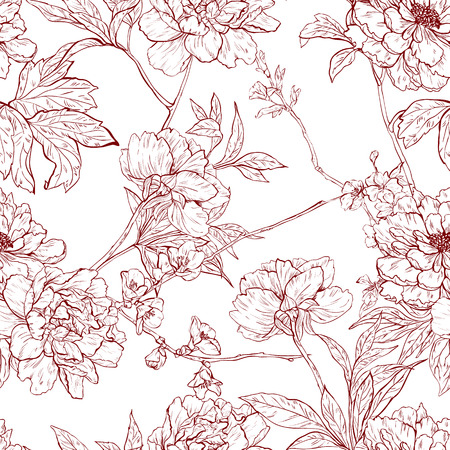 sakura flowers: Vector seamless floral pattern with flowers, branches and leaves..
