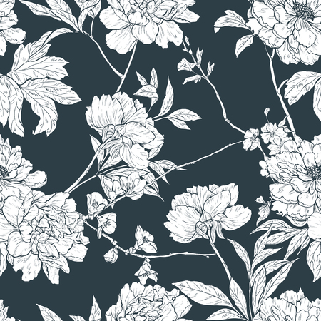 rose pattern: Vector seamless floral pattern with flowers, branches and leaves..