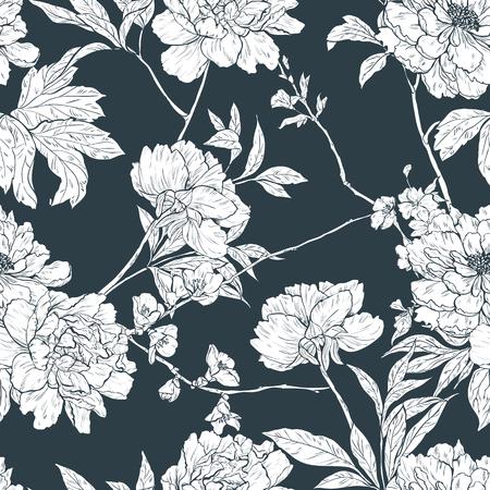 dibujos de flores: Vector sin patr�n floral con flores, ramas y hojas ..