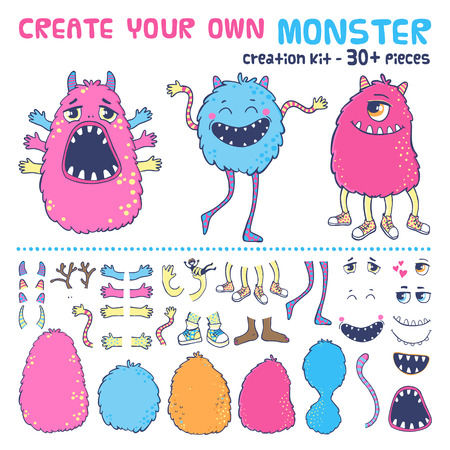 alien face: Monster creation kit. Create your own monster.