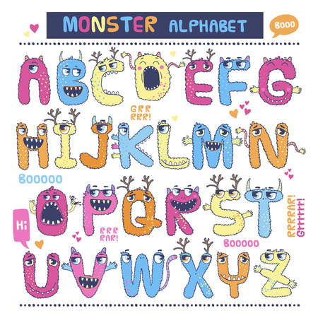 halloween kids: English alphabet with funny monsters. Letters from A to Z.