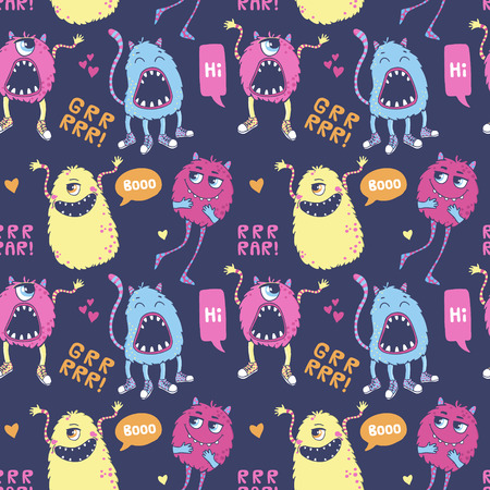 pattern monster: Seamless vector pattern with cute monsters, speech bubbles, hearts and inscriptions.