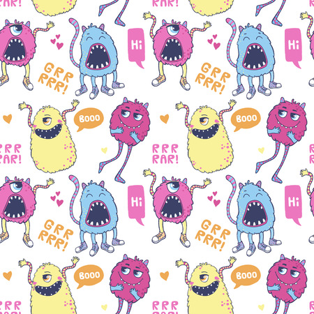 monster: Seamless vector pattern with cute monsters, speech bubbles, hearts and inscriptions.