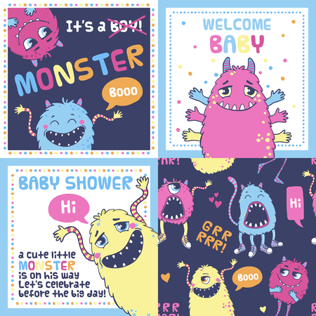 Set of vector cards, baby shower invitations. Monster party. Illustration