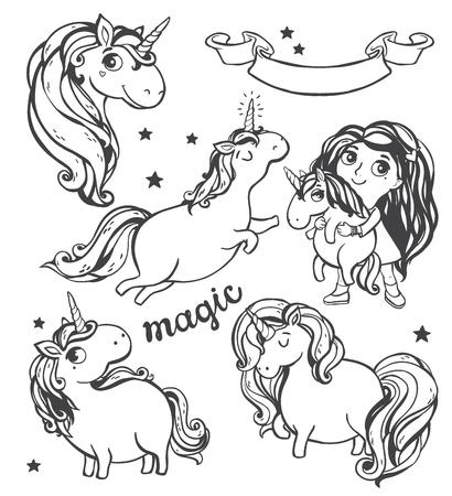 unicorn: Gold glitter unicorn isolated on white background. Vector illustration.