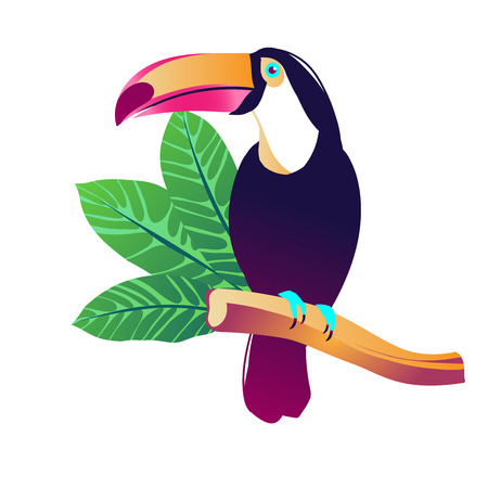 Tropical vector illustration with toucan, exotic flowers and plants.