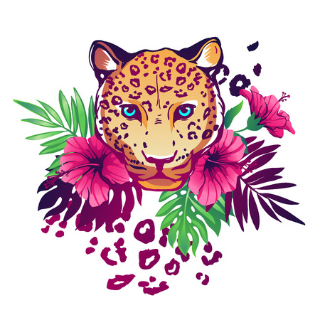 Tropical vector illustration with leopard, exotic flowers and plants.