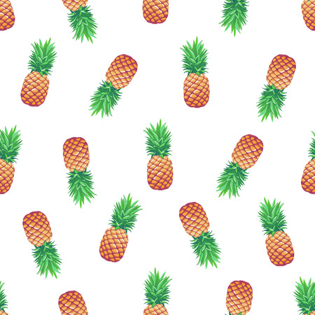 Tropical vector seamless pattern with pineapples on white background.