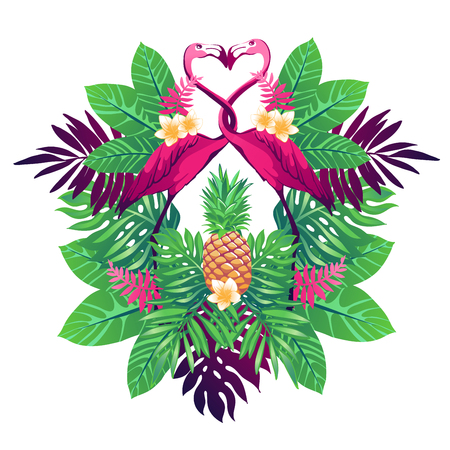 플라밍고, 파인애플, 꽃과 식물 열 대 mirrow와 벡터 일러스트 레이 션.