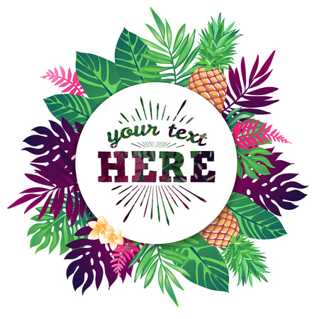 Tropical vector illustration with place for your text and tropical elements, pineapples, exotic flowers and leaves isolated on white background.