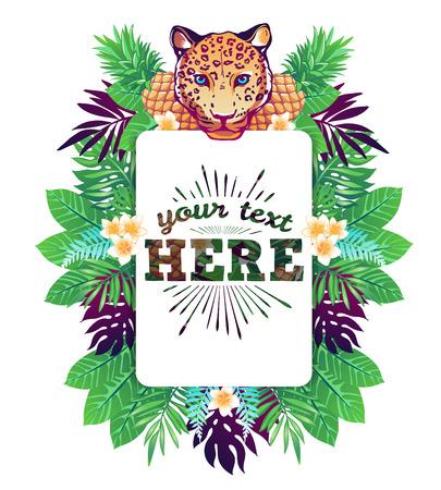 Ilustración vectorial tropical con el lugar para su texto y elementos tropicales, leopardo, piñas, flores exóticas y deja aislada sobre fondo blanco. Foto de archivo - 50477573