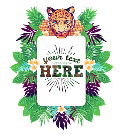 Tropical vector illustration with place for your text and tropical elements, leopard, pineapples, exotic flowers and leaves isolated on white background. Stock Illustratie
