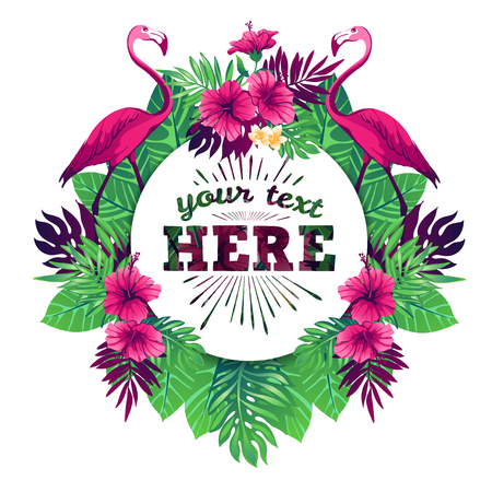 Tropical vector illustration with place for your text and tropical elements, flamingos, exotic flowers and leaves isolated on white background.