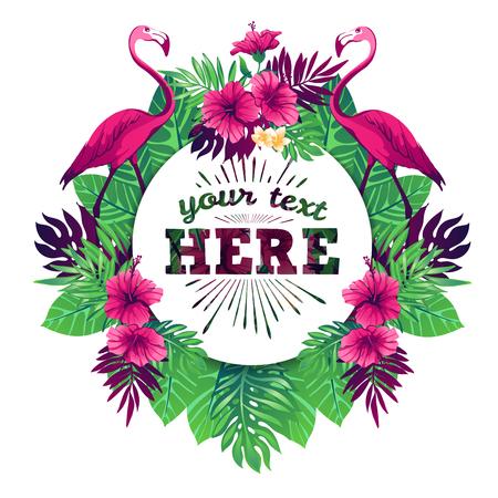 flores exoticas: ilustración vectorial tropical con el lugar para su texto y elementos tropicales, flamencos, flores exóticas y hojas aisladas sobre fondo blanco. Vectores