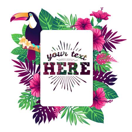 flores exoticas: ilustración vectorial tropical con el lugar para su texto y elementos tropicales, tucán, flores exóticas y deja aislada sobre fondo blanco.