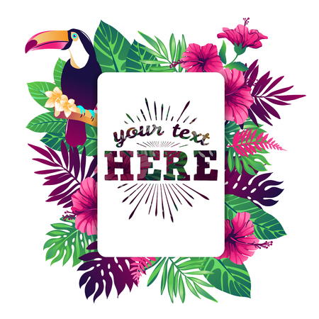 Tropical vector illustration with place for your text and tropical elements, toucan, exotic flowers and leaves isolated on white background.