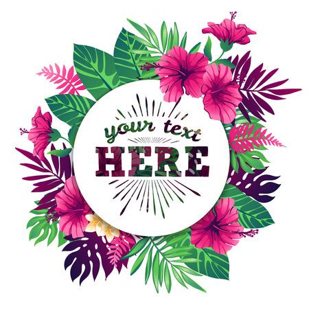 flores exoticas: ilustración vectorial tropical con el lugar para su texto y elementos tropicales, flores exóticas y hojas aisladas sobre fondo blanco.