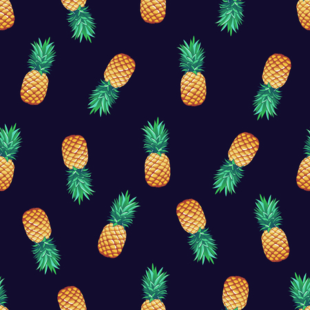 Tropical trendy vector seamless pattern with pineapples.  イラスト・ベクター素材