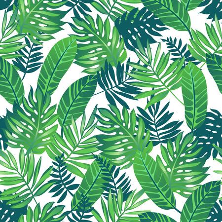エキゾチックなヤシと熱帯のトレンディなシームレス パターンを残します。  イラスト・ベクター素材