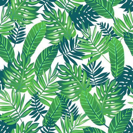 Tropical trendy seamless pattern with exotic palm leaves. Иллюстрация