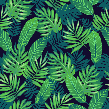Tropical trendy seamless pattern with exotic palm leaves. 矢量图像